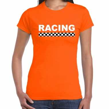 Racing coureur supporter / finish vlag t-shirt oranje voor dames
