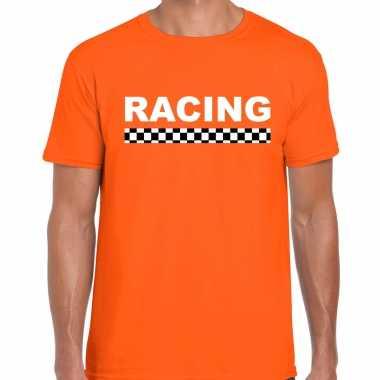 Racing coureur supporter / finish vlag t-shirt oranje voor heren