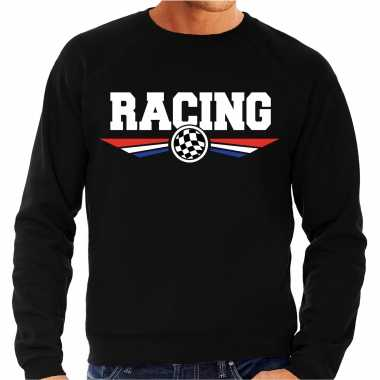 Racing race fan sweater / trui zwart voor heren