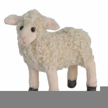 Realistische witte lam knuffel 18 cm