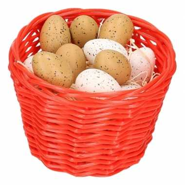 Red easter basket with plastic quail eggs 14cm