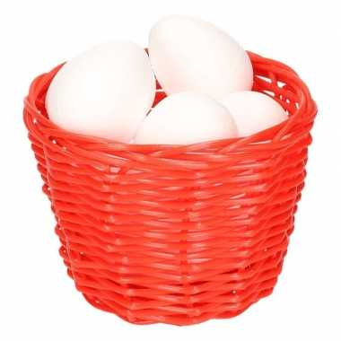 Red easter basket with styrofoam eggs 14cm