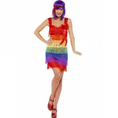 Regenboog franje jurkje