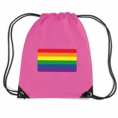 Regenboog nylon rugzak roze met regenboog vlag