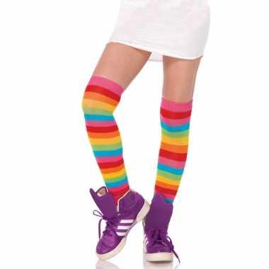 Regenboog verkleed kniekousen voor dames onze size
