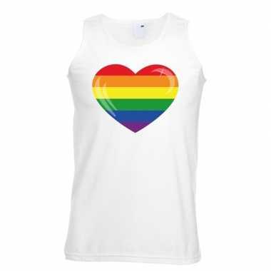 Regenboog vlag in hart singlet shirt/ tanktop wit heren