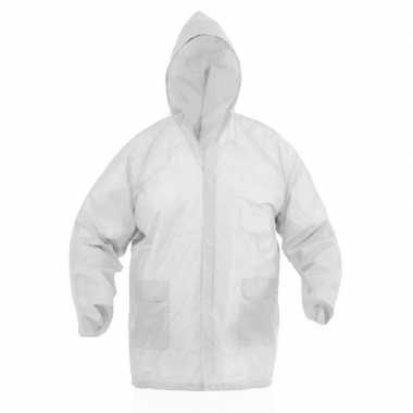 Regenjas met knoopsluiting voor volwassenen wit