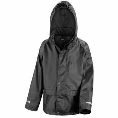 Regenjas winddicht zwart voor jongens