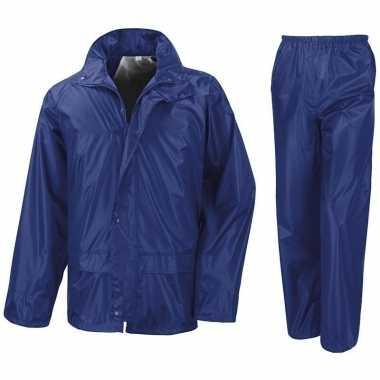 Regenpak winddicht kobalt blauw voor jongens