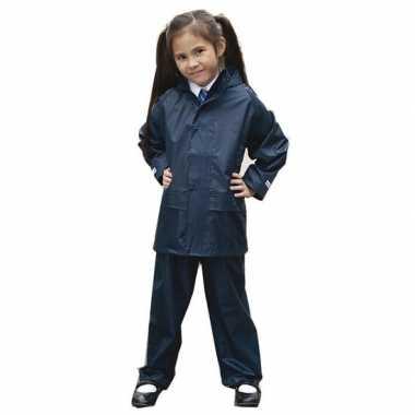 Regenpak winddicht navy blauw voor meisjes