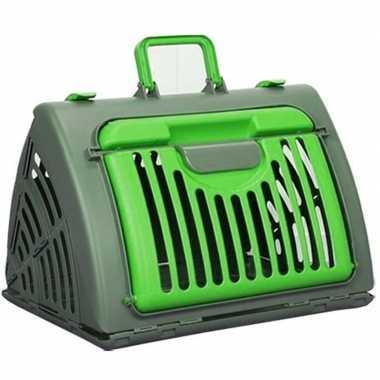 Reismand / transport box voor huisdieren grijs/groen 46 cm