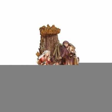 Religieus kerst beeldje van het heilige gezin 16 cm