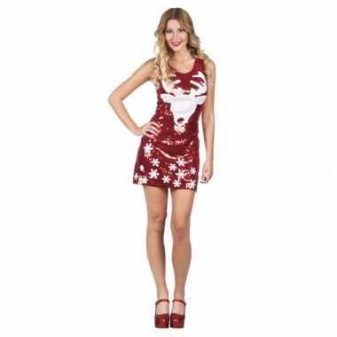 Rendier jurkje rood met pailletten