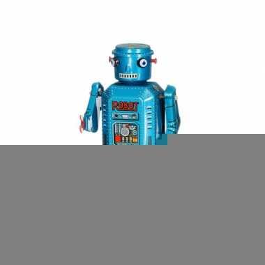 Retro robot 13 cm blauw