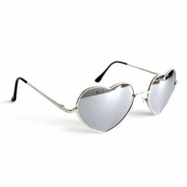 Retro zonnebril hartvorm zilveren spiegelglazen voor volwassenen
