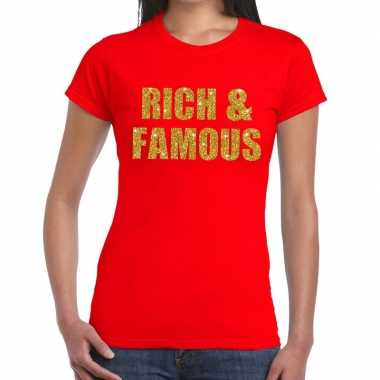 Rich and famous glitter tekst t-shirt rood dames