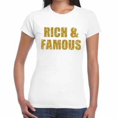 Rich and famous glitter tekst t-shirt wit dames