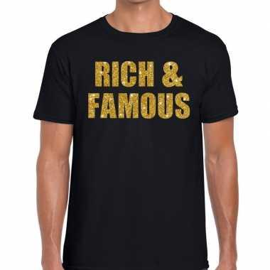 Rich and famous glitter tekst t-shirt zwart heren