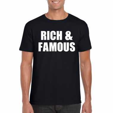 Rich & famous tekst t-shirt zwart heren