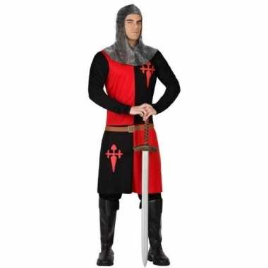 Ridder verkleed kostuum zwart/rood voor heren