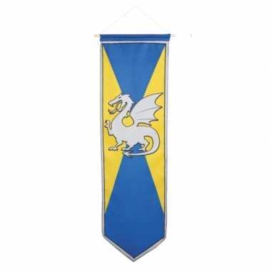 Ridder vlag met wapenschild blauw en geel