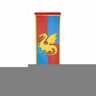 Ridder vlag met wapenschild blauw en rood