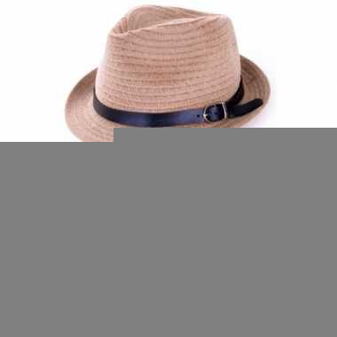 Riet trilby hoedje met riem