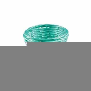 Rieten mandje turquoise 14 cm
