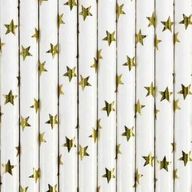 Rietjes met gouden sterren 10 stuks
