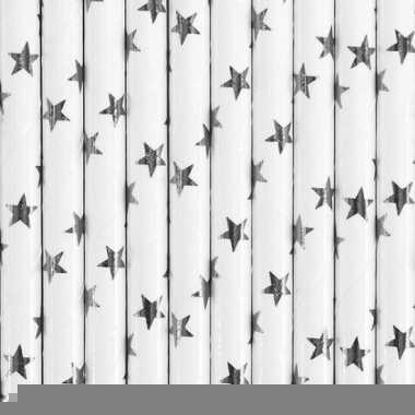 Rietjes met zilveren sterren 10 stuks