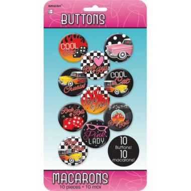 Rock and roll buttons 10 stuks