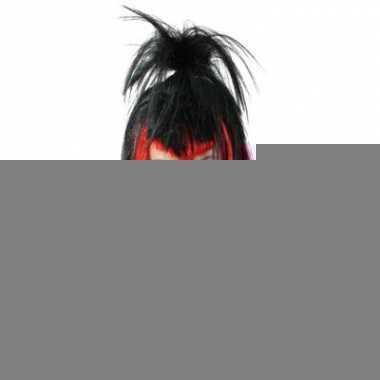 Rock chick pruik rood/zwart