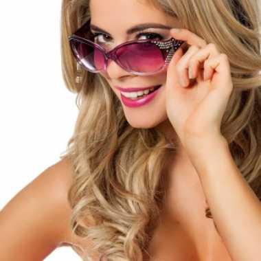 Rock en roll brillen paarse met glitters