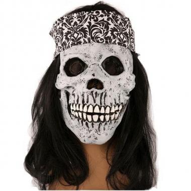Rockers schedel met lang haar