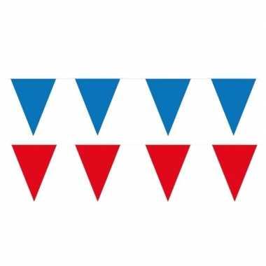 Rode/blauwe feest punt vlaggetjes pakket 120 meter