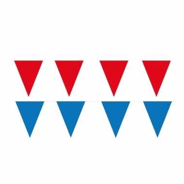 Rode/blauwe feest punt vlaggetjes pakket 60 meter
