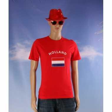 Rode body-fit heren shirts met vlag van holland