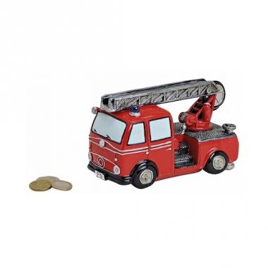 Rode brandweerwagen spaarpot 16 cm