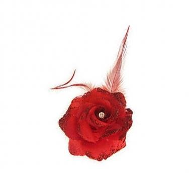 Rode deco bloem met speld/elastiek