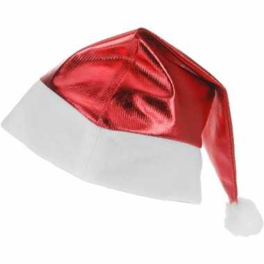 Rode glimmende kerstman kerstmuts voor volwassenen