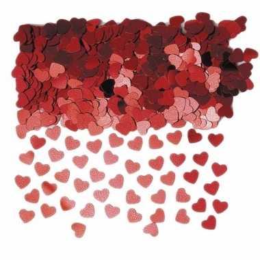Rode glitter hartjes confetti 6 zakjes