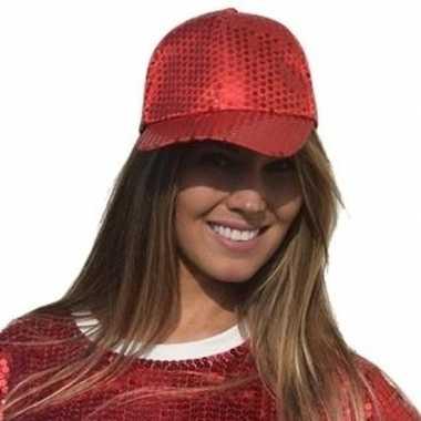 Rode glitter pailletten disco baseball cap