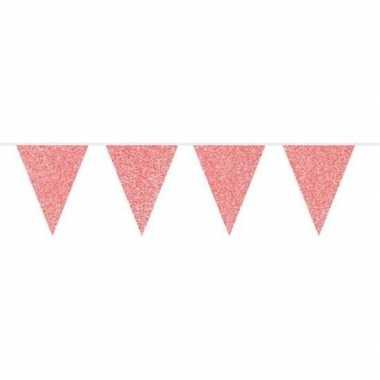 Rode glitter vlaggenlijn 10 meter