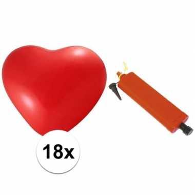 Rode hartjesballonnen 18 stuks inclusief ballonpomp
