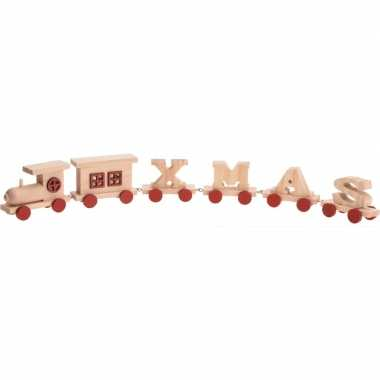 Rode houten kersttrein met tekst xmas 46 cm