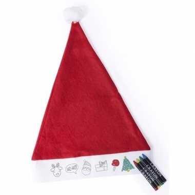 Rode inkleur kerstmuts voor kids