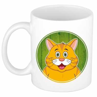 Rode kat mok beker voor kinderen 300 ml trend