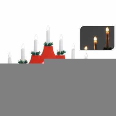 Rode kerst standaard met 7 lampjes