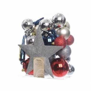 Rode kerstballen set inclusief piek