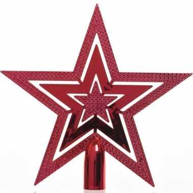 Rode kerstboom piek van kunststof 20 cm